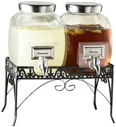 Style Setter 210981-GB Williamsburg Glass Beverage Dispenser Set with Stand