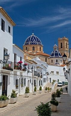 Church and Street in Altea, Valencia, Spain