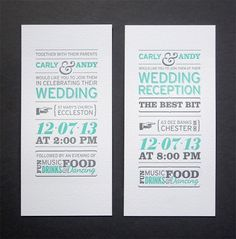 Letterpress wedding invitations in an infographic style. And bonus -- the shape of the invitation fits in a regular business envelope. So you spend your money on letterpress printing, and save money on envelopes. ;)