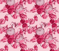Mid Century Modern Floral ~ Pink and Cranberry   ~ by PeacoquetteDesigns on Spoonflower ~ bespoke fabric, wallpaper, wall decals & gift wrap ~ Join PD  ~ https://www.Peacoquette.com  #Spoonflower #Peacoquette