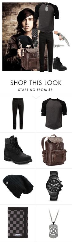 """Jacob Howlett- First Day"" by carmastermind ❤ liked on Polyvore featuring Yves Saint Laurent, Timberland, Ropin West, FOSSIL, Vans, men's fashion and menswear"