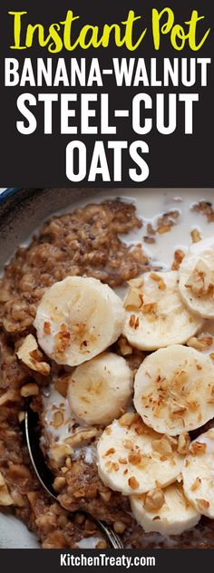 Instant Pot Banana Walnut Steel Cut Oats recipe Steel cut oats cook up perfectly creamy in the pressure cooker. This recipe also adds banana walnuts flaxseed meal and chia seeds for a serious om Oats Recipes, Slow Cooker Recipes, Crockpot Recipes, Whole Food Recipes, Cooking Recipes, Cooking Ideas, Flaxseed Meal Recipes, Pressure Cooker Recipes Vegetarian, Zone Recipes