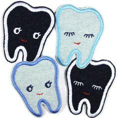 ....Bügelflicken, Kniefllicken und Bügelbilder Zähne aus Jeans.