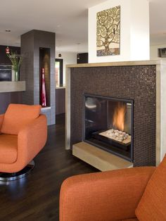 Modern Living Room Orange Wall Design, Pictures, Remodel, Decor and Ideas - page 7