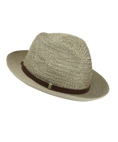 Khaki Open Weave Fedora Hat with Belt, Grevi. Shop more hats from the Grevi collection online at Liberty.co.uk