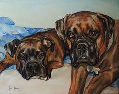 "Pet Portraits - Oil Paintings by Julie Pfirsch Boxers - Izzie & Otto, Oil on Canvas, 11"" x 14""  www.juliepfirsch.com"