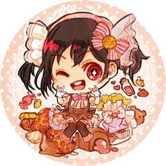 One of old work for love live button:dessert series. It's our favorite idol, nico nico ni!! I made practically everyone, but this one is my fave.  #digitalart #chibi #mangaart #illustration #lovelive