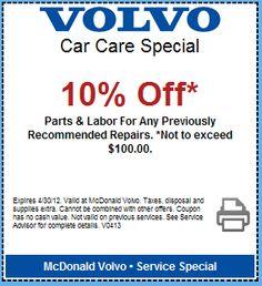 10% Off Volvo Parts and Labor! Visit http://mcdonaldvolvocolorado.wordpress.com/2012/04/16/volvo-service-special/  to Print!
