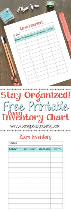 Never search for an item you stored in a container or drawer again! Use this free printable Room Inventory Chart to help you stay organized!
