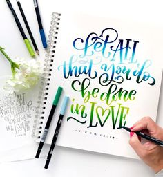 Hand lettering made easy with Dual Brush Pens from Brush Lettering Quotes, Brush Pen Calligraphy, How To Write Calligraphy, Calligraphy Quotes, Lettering Styles, Lettering Design, Modern Calligraphy, Chalkboard Lettering, Handwriting Alphabet