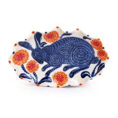 Blue Rabbit Butter Dish  Artist: Sue Tirrell