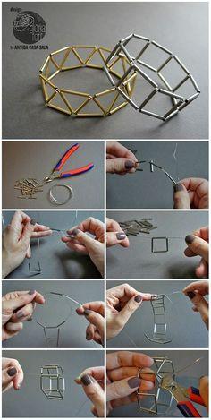 Geometric-process-_-Gloria-Fort - Life with Alyda Diy Bracelets Easy, Bracelet Crafts, Beading Projects, Beading Tutorials, Bead Crafts, Jewelry Crafts, Handmade Wire Jewelry, Beaded Bracelet Patterns, Bead Jewellery