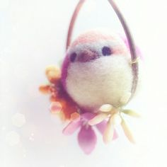 Needle felted bird pendant necklace now in shop
