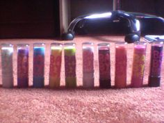 Couldn't live without my baby lips from left to right there is Too Cool' Peach Kiss' Hydrate' Intense Care' Mint Fresh' Pink Me Up' Strike A Rose' Cherry Me' Pink Punch' Pink Shock  I love them hope u do to!!!!