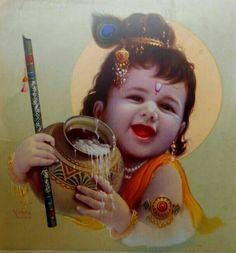Vintage religious print of Hindu God Baby Krishna Radha Krishna Images, Lord Krishna Images, Radha Krishna Photo, Krishna Pictures, Krishna Photos, Krishna Art, Yashoda Krishna, Jai Shree Krishna, Radhe Krishna