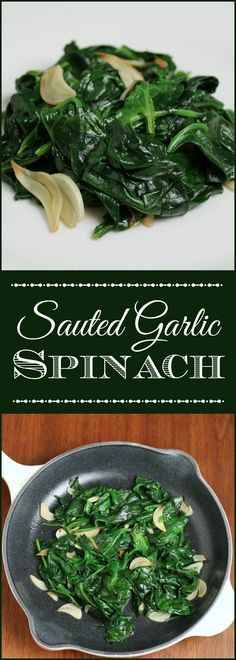 Sauteed Garlic Spinach - This sautéed garlic spinach is such a. Sauteed Garlic Spinach - This sautéed garlic spinach is such a quick and healthy side for a weekday dinner; and tasty enough to be served with an elegant entrée. Veggie Side Dishes, Healthy Side Dishes, Vegetable Sides, Side Dish Recipes, Food Dishes, Vegetable Samosa, Beans Vegetable, Dishes Recipes, Vegetarian Recipes
