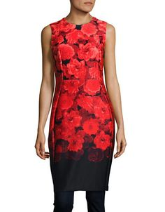 CALVIN KLEIN Calvin KleinFloral-Printed Neoprene Dress. #calvinklein #cloth #