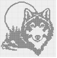 wolves for plastic canvas Filet Crochet Charts, Knitting Charts, Cross Stitch Charts, Cross Stitch Designs, Cross Stitch Patterns, Stitching Patterns, Plastic Canvas Crafts, Plastic Canvas Patterns, Cross Stitching