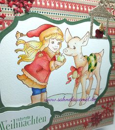 """""""Christmas Reindeer"""" Whimsy Stamps; Designerpaper PaperPad """"Deck the Halls"""" Simply Creative; Sentiment """"Iris-istible""""; Lantern """"Candel"""" Precious Marieke; """"Label #2"""" Crealies; """"Multiframes Oval"""" Nellie Snellen; Stars and Snowflakes cut out of the """"Snow Corner"""" Wild Rose Studio; colored with TwinklingsH2O; Glitter Cardstock Rayher // Christmas Card"""