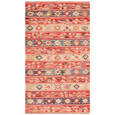 Antique Romanian Bessarabian Flat Weave Rug