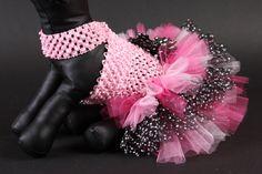 LEXI rosa & negro perro vestido tutú con tul por JustForBella