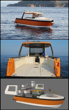 """Ethos E30.  Ethos E30 from Milano's Azure Embark. Billed as the """"first hybrid crossover boat,"""" this innovative vessel uses a modular design to transform for all kinds of purposes.  #YachtNews"""