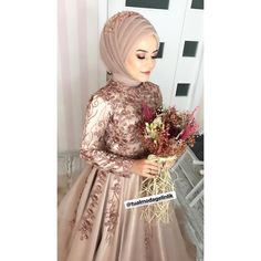 Our princess niş # engagement # eng … Bridal Hijab, Hijab Wedding Dresses, Hijab Bride, Prom Dresses, Formal Dresses, Dress Wedding, Hajib Fashion, Fashion Dresses, Hijab Gown