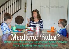 "I often have people ask me about the mealtime ""rules"" they have heard about or their  friends use. What should they follow and what should they not? It can be difficult to navigate with so much different advice flying around.  As a pediatric OT that specializes in feeding, I want to throw my two …"