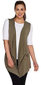 As Is LOGO by Lori Goldstein Open Front Knit Vest with Hood