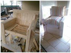 Chair made with recycled pallets and other pallet wood. Fauteuil en palettes et en bois de palettes.