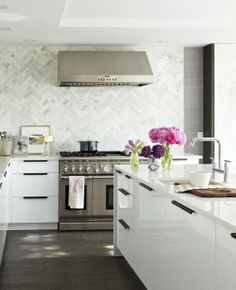 Crisp and clean, this chevron pattern creates a subtle and divine accent wall.