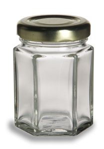 Hex Glass Jar 2oz - 65 cents ea.