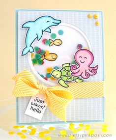 Paulina's adorable shaker card with Lawn Fawn - Critters in the Sea _ prettypinkposh_underthesea1