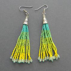 Turquoise pale green and yellow seed bead earrings by Anabel27shop,