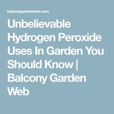 Unbelievable Hydrogen Peroxide Uses In Garden You Should Know | Balcony Garden Web