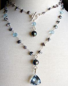 Long Blue Topaz and Grey Pearl Necklace Wire by SurfAndSand  (AWESOME!)