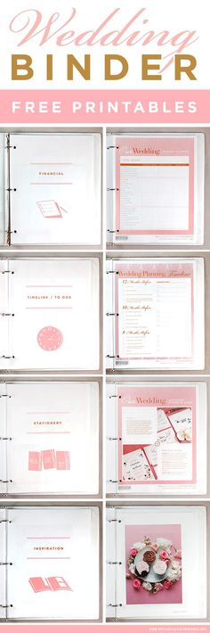 get access to these free printables to help you create the wedding planning binder of your