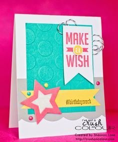 Crush On Colour: Make A Wish - #birthdaysrock - Stampin' Up 2014 #hello and Perfect Pennants