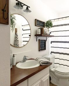 And cheers to starting the weekend with a clean bathroom! But honestly living with 4 boys, it doesn't stay this way for… House, House Bathroom, Bathroom Renos, Home, Restroom Decor, Home Remodeling, Bathrooms Remodel, Bathroom Design, Farmhouse Bathroom Decor