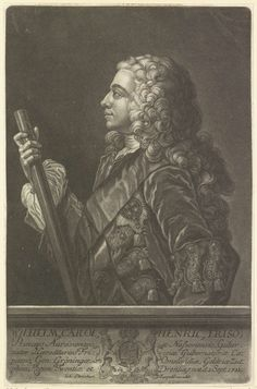 Anonymous | Portret van Willem IV, prins van Oranje-Nassau, Anonymous, Johann Christian Leopold, 1733 - 1755 | Portret van Willem IV. In zijn rechterhand een commandostaf. Midden onder zijn wapen met een kroon en twee leeuwen, gedecoreerd met de Kousenband en het devies van de Orde van de Kousenband. In de ondermarge zijn naam, zijn titels en zijn geboortedatum.
