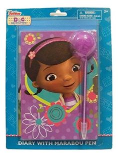 """Disney Doc McStuffins Diary with Marabou Pen ~ Purple Polka Dots with Flower Heads (5"""" x 7"""" Diary"""