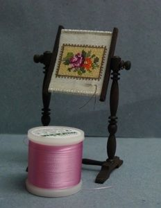 petit point needlepoint in miniature frame
