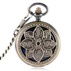 Vinatge Hollow Flower Case Blue Roman Number Skeleton Dial Hand-wind Mechanical Fob Pocket Watches With Chain Relogio Feminino