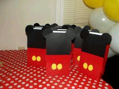 Mickey mouse treat bags for the boys.