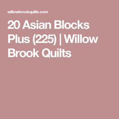 20 Asian Blocks Plus (225) | Willow Brook Quilts