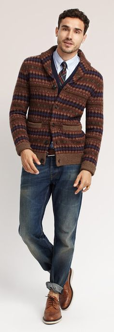 crazy cardigan. great look but i wish the jeans werent prewashed.