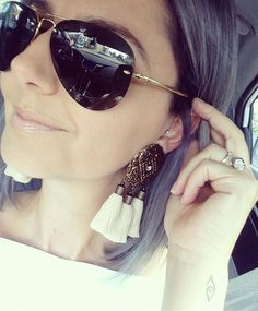 Out with these babies 😍... Told you I was keeping them!  Available in Black Tassels and Wine too... link in profile -xxx- #frockingjewels #handmade #boho #bohostyle #jewellery #boholuxe #earrings #tassels #tasselearrings #etsy #greyhair