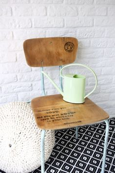 my work space, vintage school chair Painted Furniture, Furniture Ideas, School Chairs, Vintage School, Industrial Furniture, Home Improvement, Signs, Space, Projects