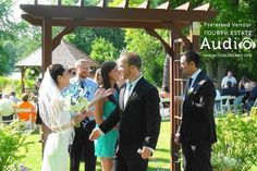 The festive receiving line under the arch at Riverview Banquets. http://www.discjockey.org