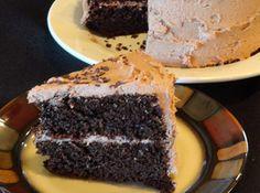 Recipe; Black Magic Cake; flour, sugar, cocoa, baking soda, salt, eggs, black coffee, buttermilk, vegetable oil, vanilla, margarine, unsweetened chocolate, milk, powdered sugar  ~~